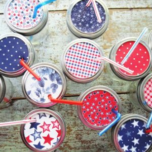 Red White Blue Mason Jar Sippy Cups