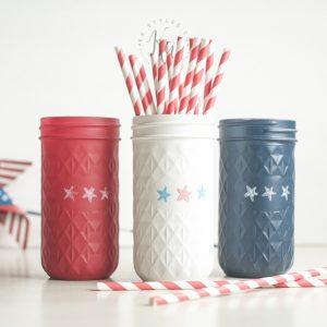 Red White Blue Patriotic Mason Jars