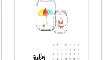 Free July 2018 Calendar Page
