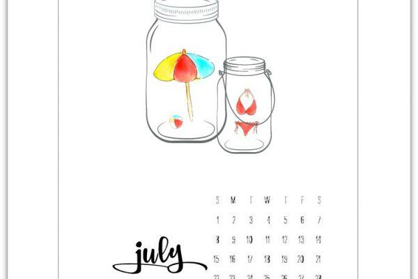 Free July 2018 Calendar Page Printable
