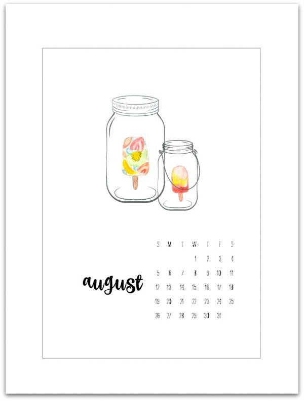 August Calendar Page - free Calendar Page pIrntable - Mason jar calendar page