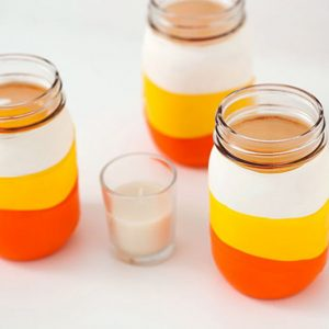 Balloon Dipped Candy Corn Mason Jar - Easy Halloween Mason Jar Craft Ideas