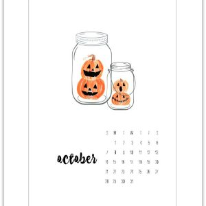 October Calendar Page Printable - Free Calendar Pages - Mason Jar Calendar Pages