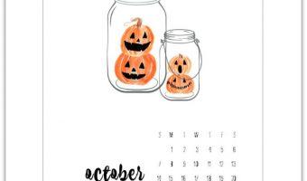 October Calendar Page Printable