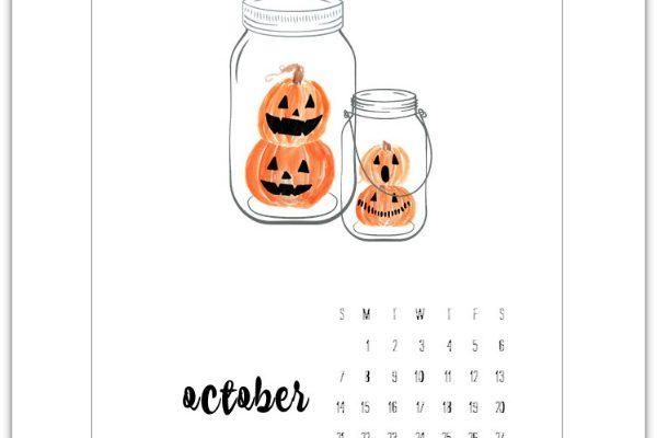 October Calendar Page Printable - Free Calendar Pages - Mason Jar Calendar Pages
