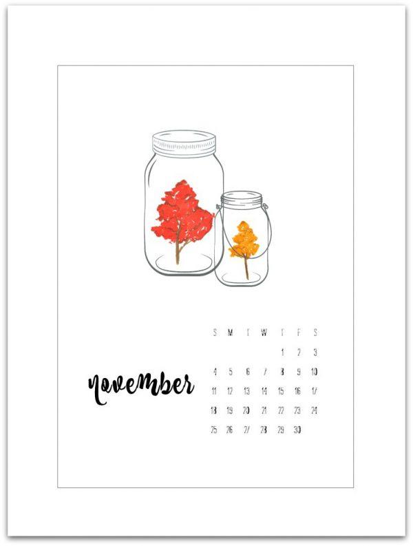 November Calendar Page Printable - Free Calendar Page Printable - Mason Jar Calendar Page Printable