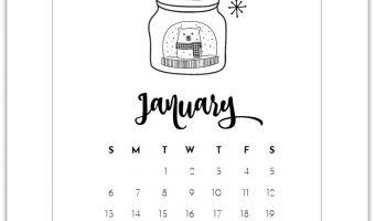 January 2019 Calendar Page Printable
