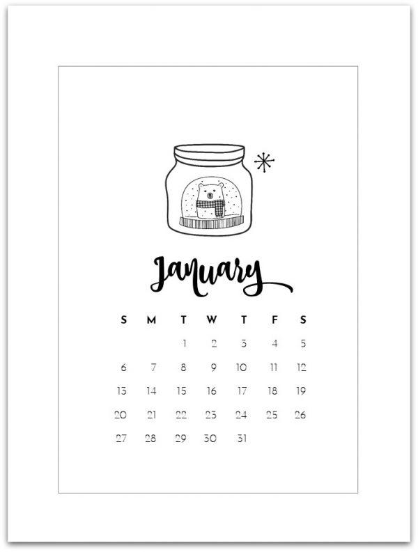 January 31 2019 Calendar January 2019 Calendar Page Printable   Mason Jar Crafts Love