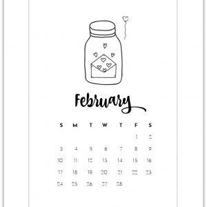 February Mason Jar Calendar Page - Free Calendar Page Printable
