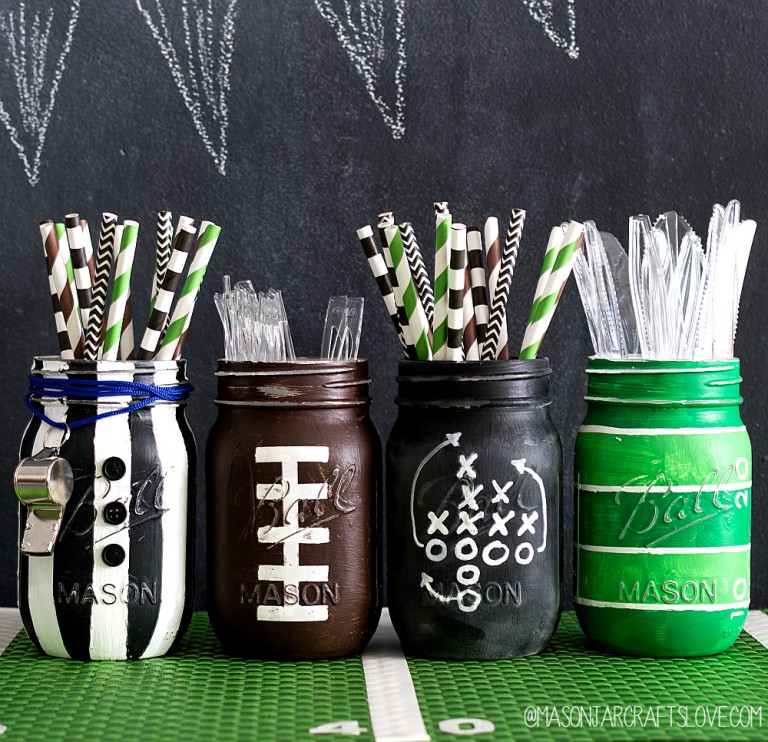 Football Mason Jars - Painted Football Mason Jars