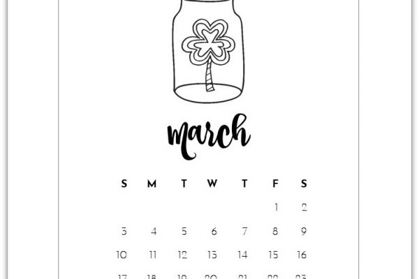 free March mason jar calendar page - calendar page printable for march