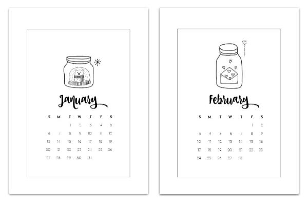 free calendar page printables 2019 january february