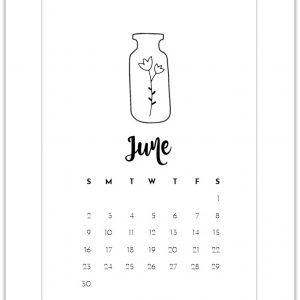 June Mason Jar Calendar Page Printable - Free Calendar Page Printables