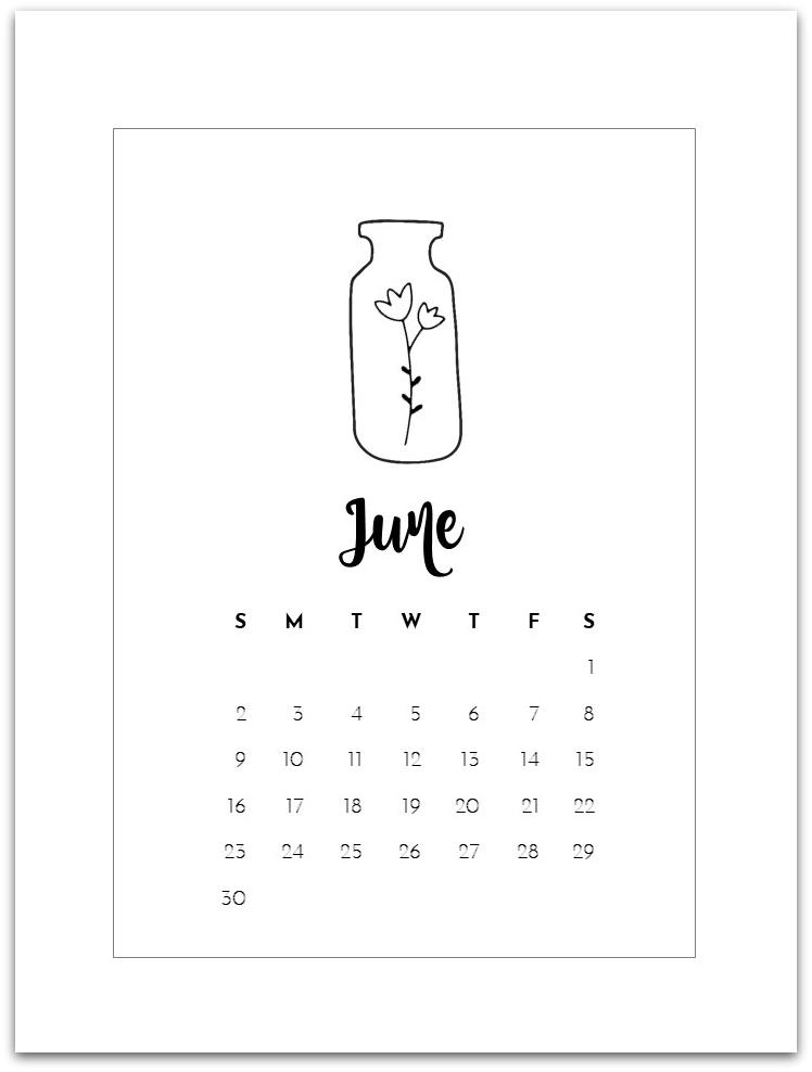 June Mason Jar Calendar Page - Free Calendar Page Printable