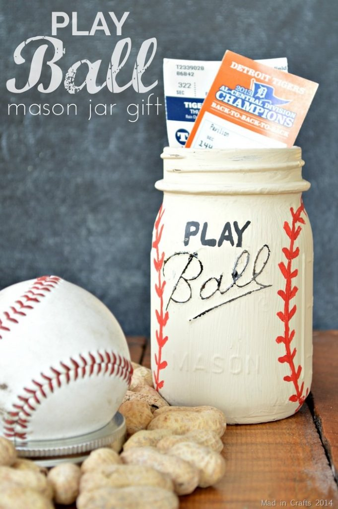 Father's Day Gift - Baseball Mason Jar