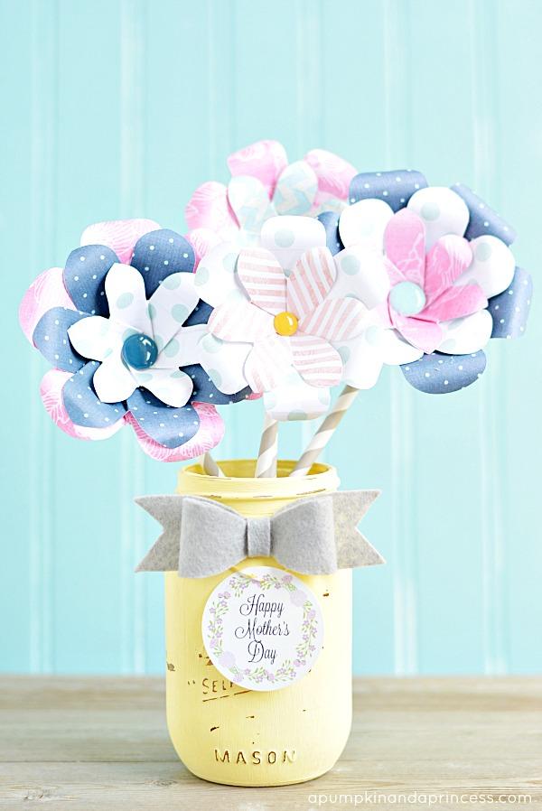 Mother S Day Paper Flower Bouquet Mason Jar Crafts Love