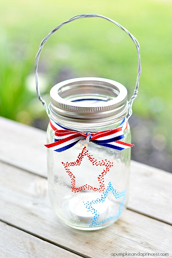 Red White Blue Hanging Mason Jar Votive - Fourth of July Decorating Ideas with Mason Jars - Mason Jar Candle Ideas - Patriotic Mason Jar Crafts for Fourth of July