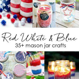Fourth of July Red White Blue Mason Jar Crafts & Decor Ideas