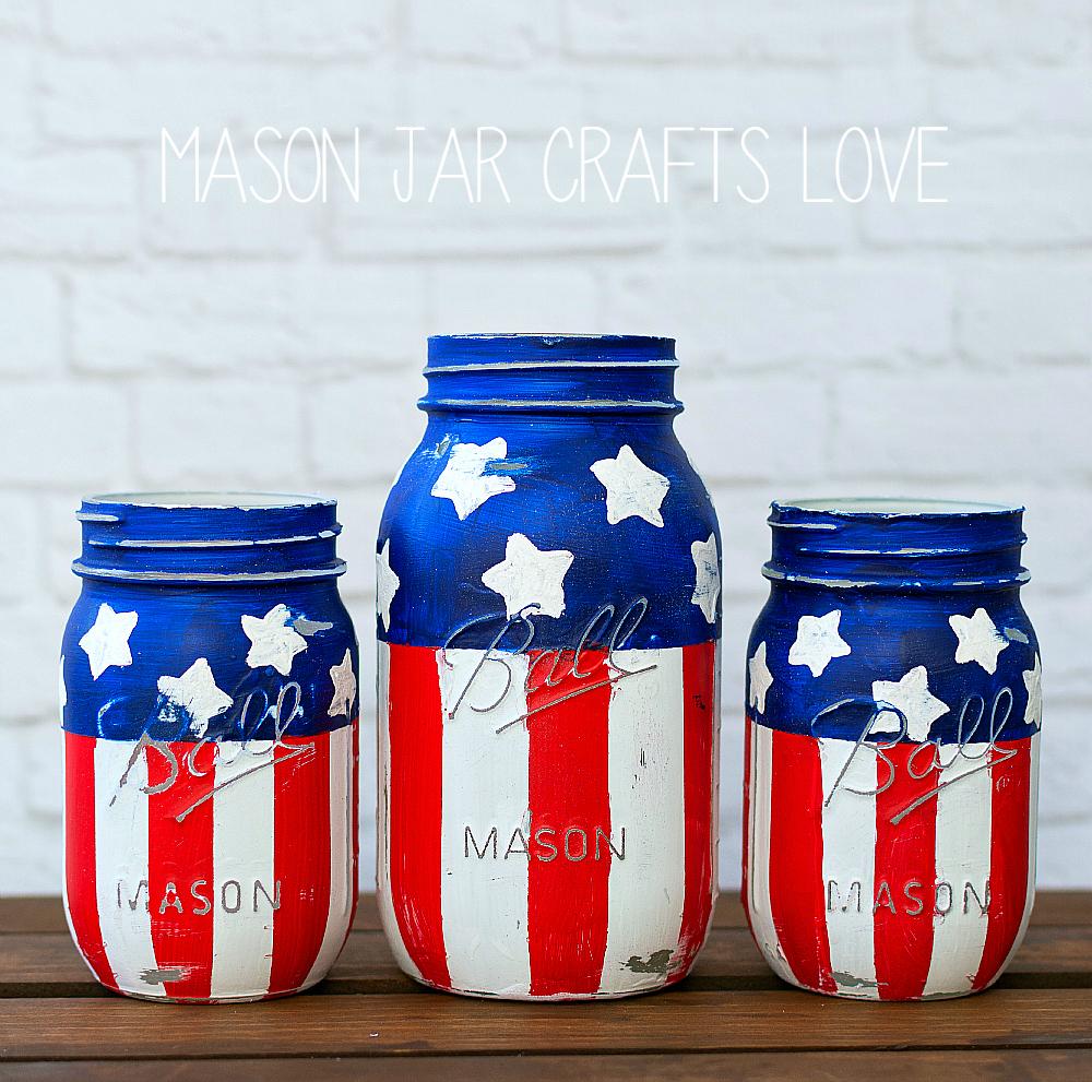 Stars Stripes Mason Jars Mason Jar Crafts Love