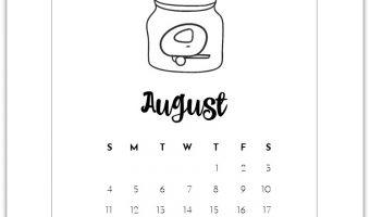 August Mason Jar Calendar Page - Free Printable Calendar Page