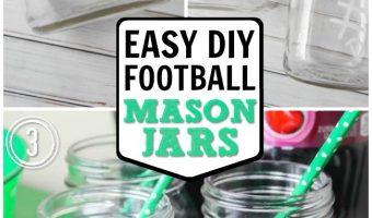 Easy Football Mason Jars - Football Party Ideas with Mason Jars - @The Soccer Mom Blog