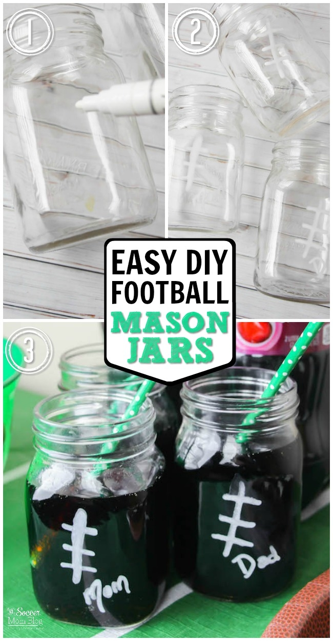 Easy Football Mason Jars - Football Party Ideas with Mason Jars - @The Soccer Mom Blog