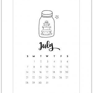 July Mason Jar Calendar Page Printable - Free Calendar Page Printables