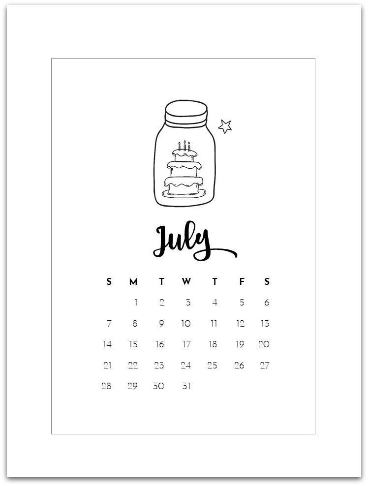 July Mason Jar Calendar Page - Mason Jar Crafts Love