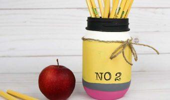 Painted Pencil Mason Jar Pencil Holder - Back To School Mason Jar - Teacher Gift Ideas with Mason Jars