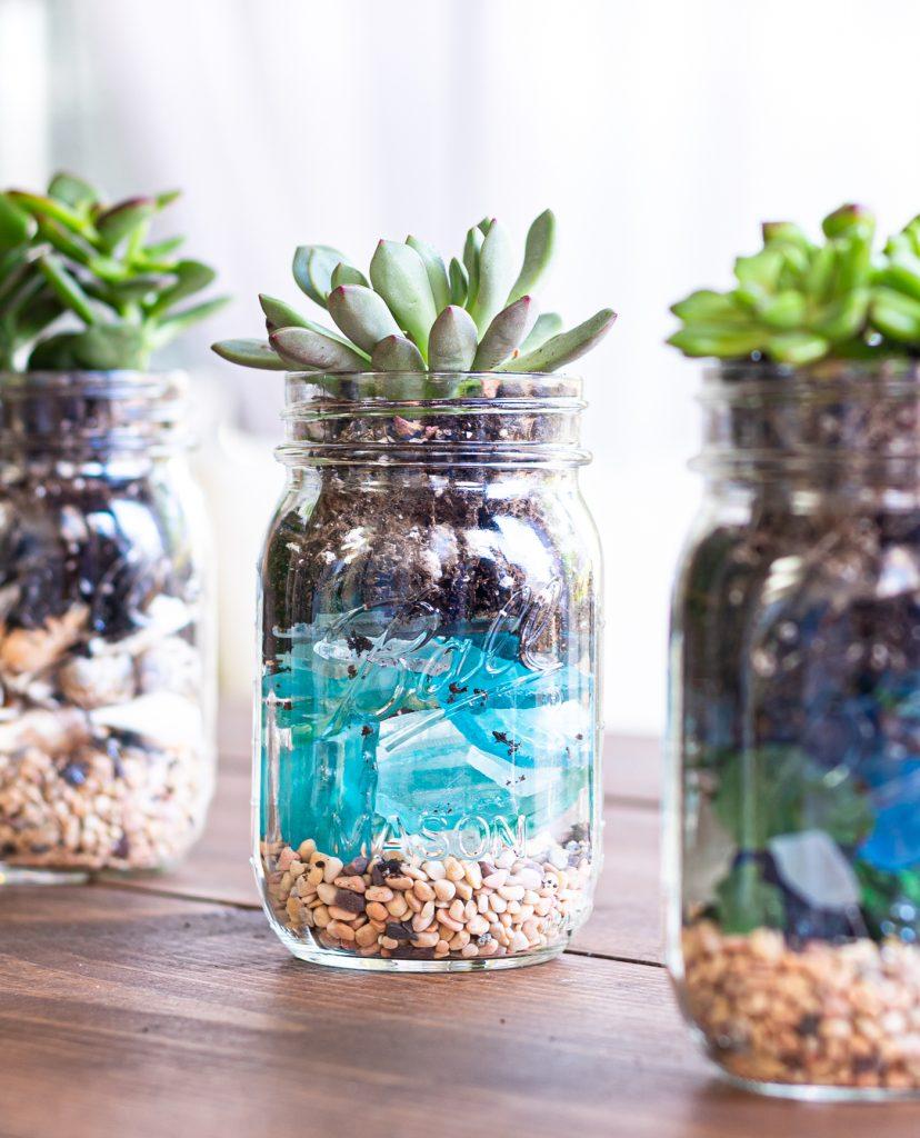 Mason Jar Planters with Succulents