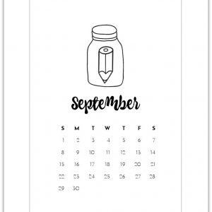 September Free Calendar Page Printable - Mason Jar Calendar Page