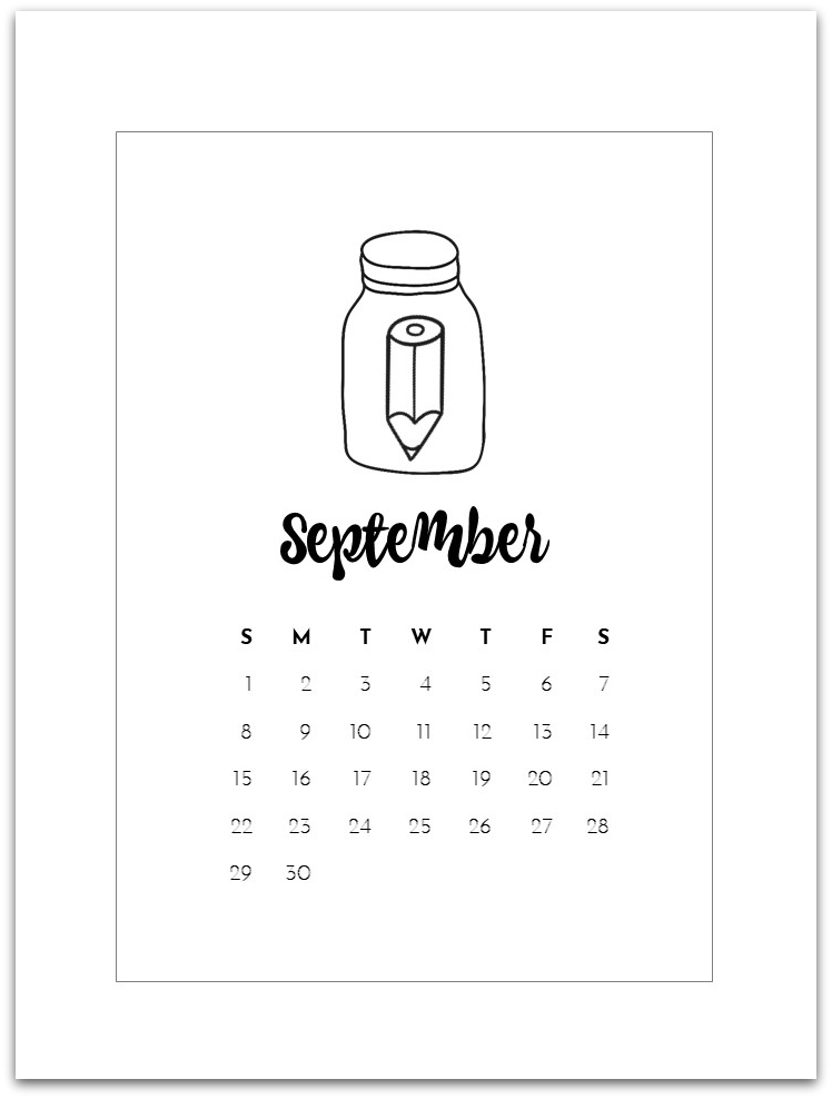 photo relating to Printable Mason Jar identified as September Cost-free Calendar Web page - Mason Jar Crafts Delight in
