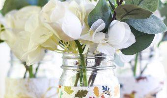 Easy Fall Mason Jar Craft - Paper and Raffia Mason Jar Craft for Autumn