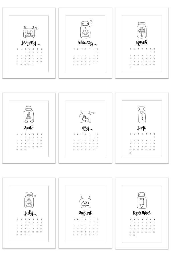 Free 2019 Calendar Page Printables - Mason Jar Calendar Page Printable