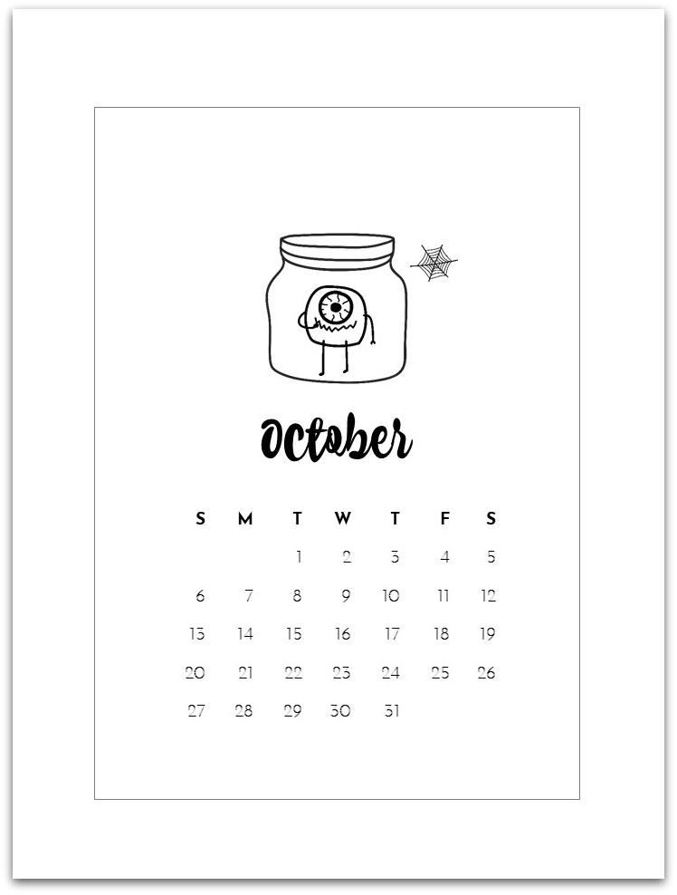 October Calendar Page - Free Printable Mason Jar Calendar Pages