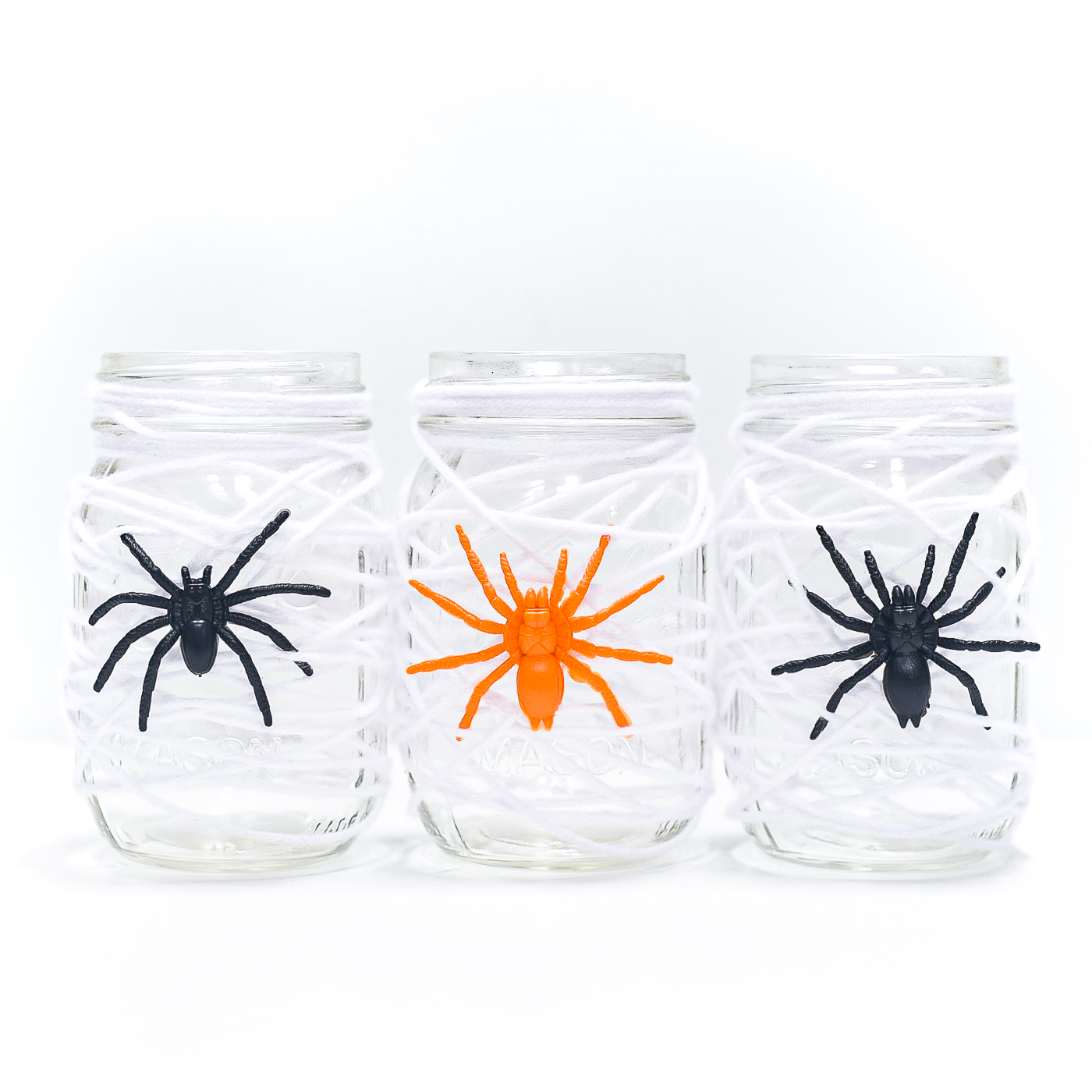 Spider Web Mason Jar - Easy Halloween Crafts with Jars - Mason Jar Crafts for Halloween