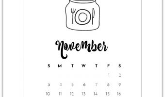 November Calendar Page - Free Mason Jar Calendar Page Printable