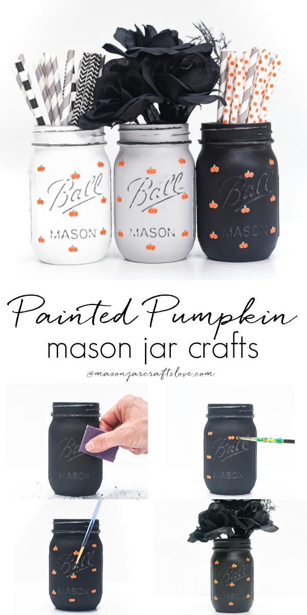 Painted Pumpkins on Mason Jars - Fall Mason Jar Craft with Mason Jars - Pumpkin Crafts with Paint