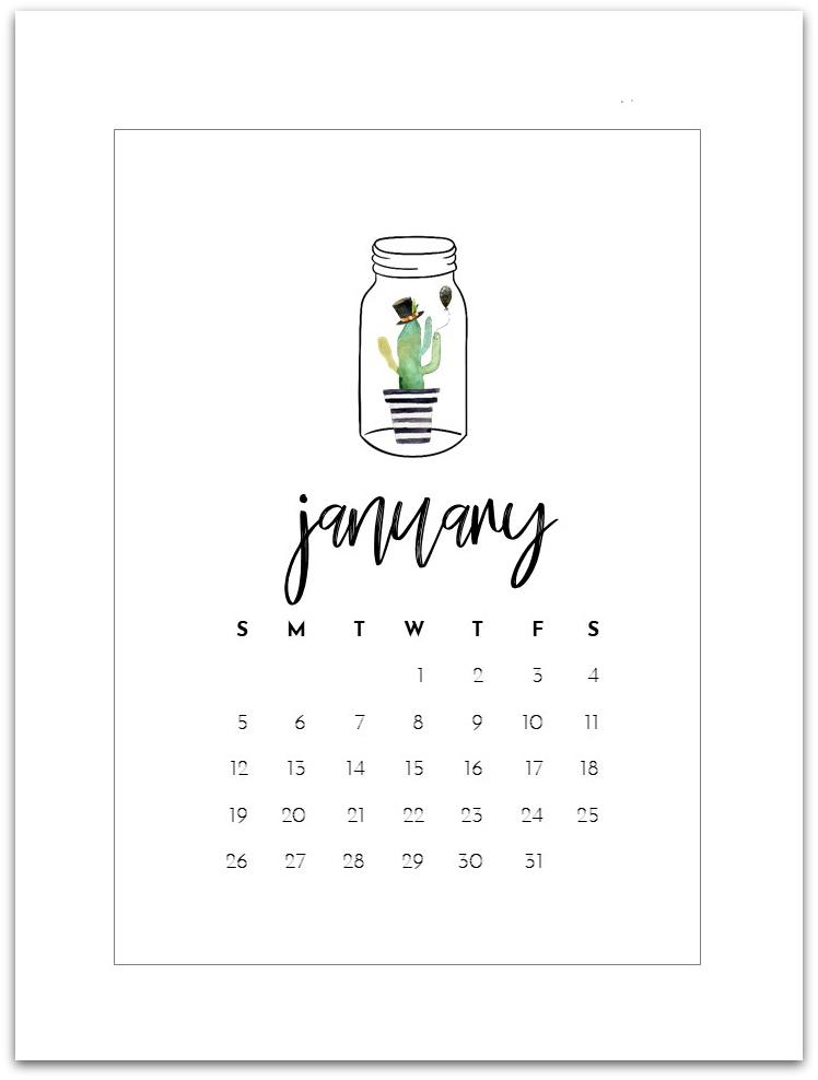 January 2020 Calendar Page Printable - Mason Jar Calendar -  Free Calendar Page for 2020 - Mason Jar Calendar Page 2020 - Free 2020 Calendar