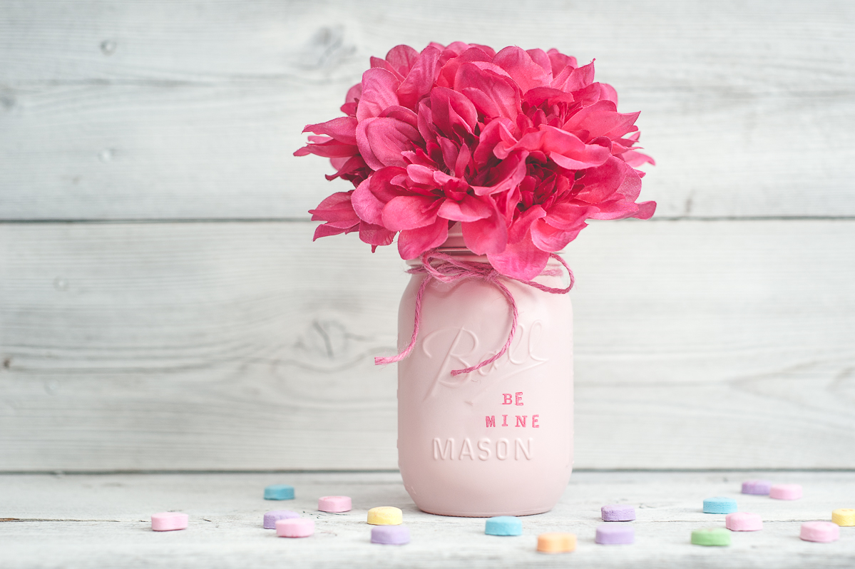 Conversation Heart Mason Jar - Valentine Mason Jar Craft - Jar Crafts for Valentine's Day