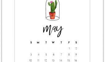 May Calendar Page - Free Calendar Page Printable 2020 - Mason Jar Calendar Page 2020