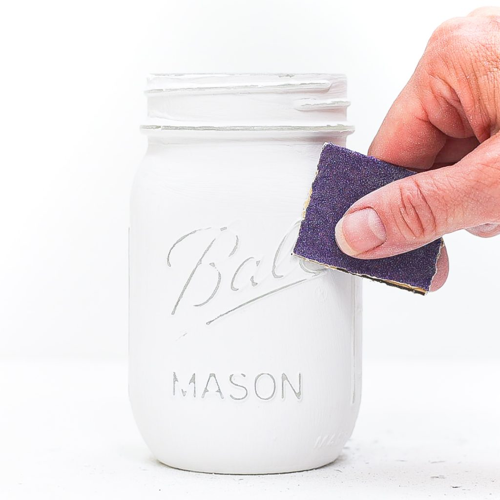 How to paint and distress mason jars.