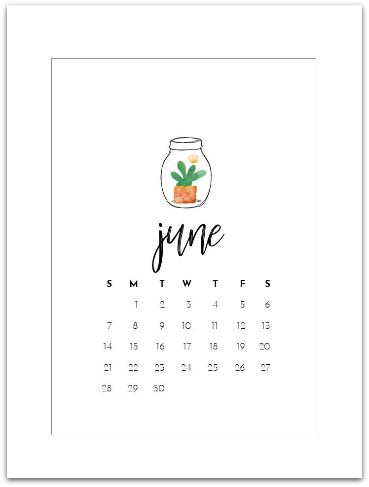 June 2020 Free Calendar Page - Mason Jar Calendar Page Printable for 2020 - Free Calendar Page Printable 2020