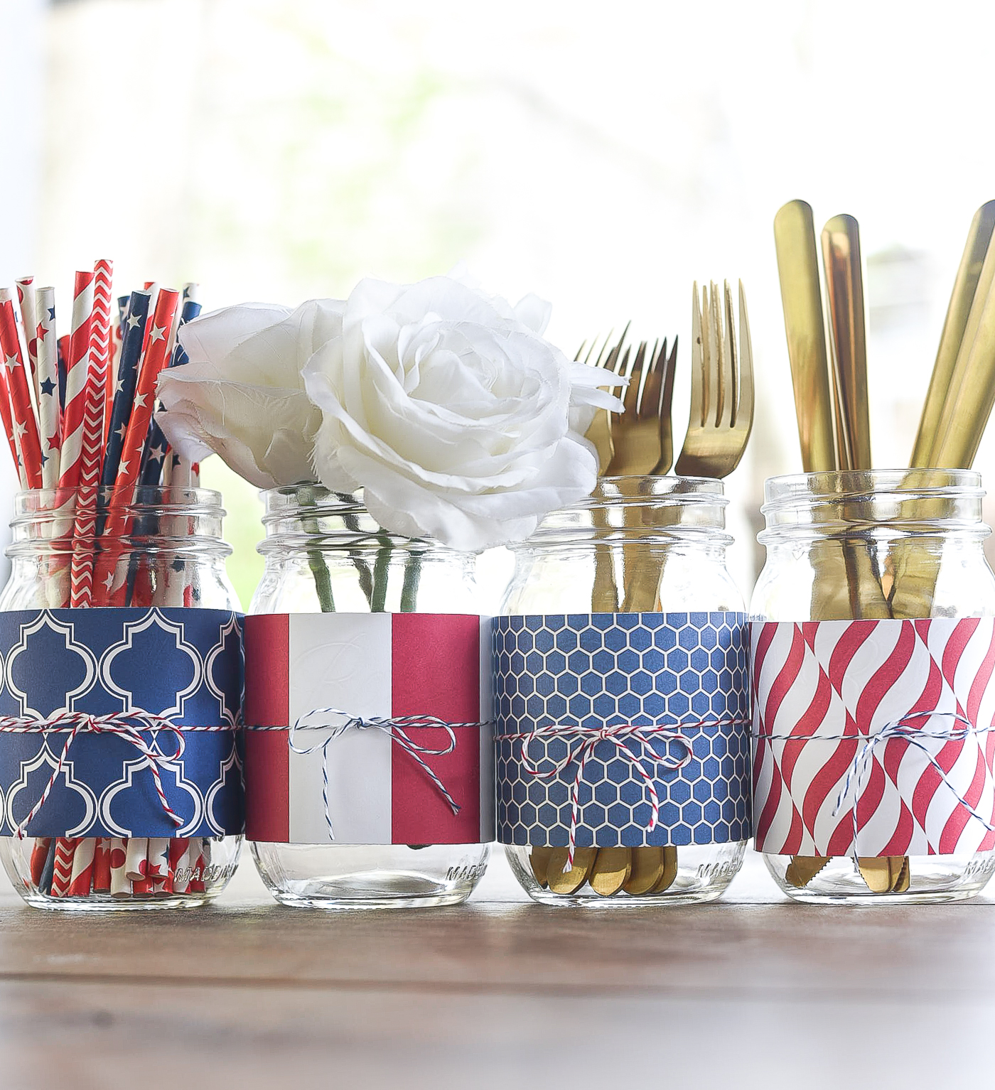 Red White Blue Mason Jar with Scrapbook Paper - Patriotic Mason Jars for Memorial Day, Fourth of July, Labor Day.